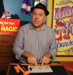 Julian Pointing at Carrot - Jumping Carrot Magic Trick - Magic Lessons #13 - Magic Tricks For Kids
