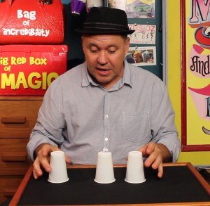 Three Cups and Balls Trick Performance