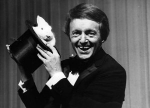 Paul Daniels Showing a Rabbit in a Hat